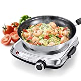 SUNAVO Hot Plates for Cooking, 1500W Electric Single Burner with Handles, 6 Power Levels Stainless Steel Hot Plate for Kitchen Camping RV and More