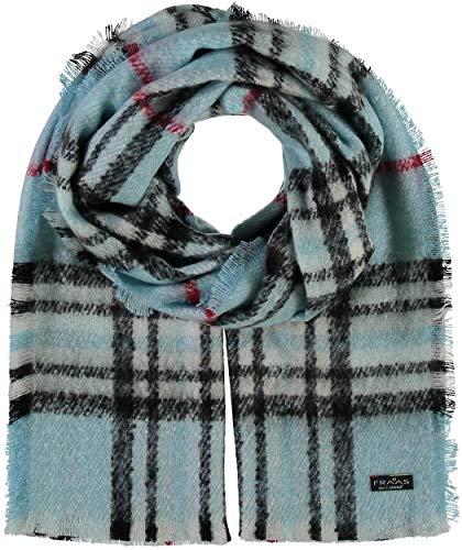 FRAAS Damen-Schal kariert aus Cashmink® - 35 x 200 cm - Made in Germany - Elegante karierte Stola - Hochwertiger Winter-Schal - Stilvolles Plaid mit Muster Helltürkis