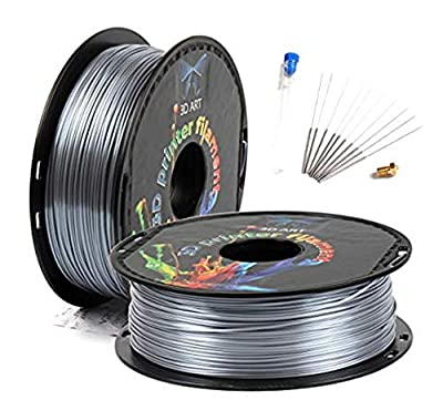 3D Art Professional Printing Filament - 1.75mm ±0.03mm PLA Material for 3D Printer - Super Strength 1kg Spool with Nozzle - No Bubbles, Blob, or Jams - No Heating Bed Needed - Silk-Like Silver