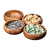 Gifteey Natural Acacia Wooden Hand-Carved Round Calabash Dip Bowls, Perfect for Dips Sauce...