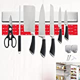 No Drilling Magnetic Knife Holder for Wall, Pienghdl 16 inches SUS304 Stainless Steel Magnetic Knife Holder Strip for Fridge with 2 Hooks, Heavy-Duty Magnet Strip for Kitchen Knives with Adhesive