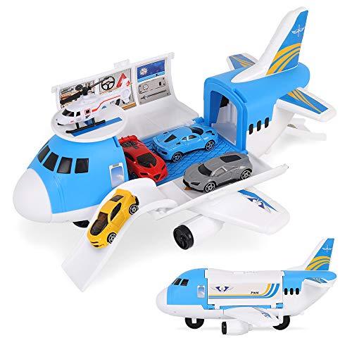 m zimoon Flugzeug Spielzeug, Flugzeug Transporter Spielzeug Spielset mit 4 Stück Mini Autos, 1 Stück Hubschrauber Spielzeug und 1 Stück DIY Aufkleber Geschenk für Jungen Mädchen