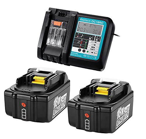 FengBP®2X 18V 5.0Ah Battery with DC18RC Charger Replacement for Makita BL1850B BL1860B BL1830B BL1815 DMR104W DMR106B DMR108 DMR109W DMR102W DLM431Z DLM380Z DUC353Z DUB362Z 5000mAh