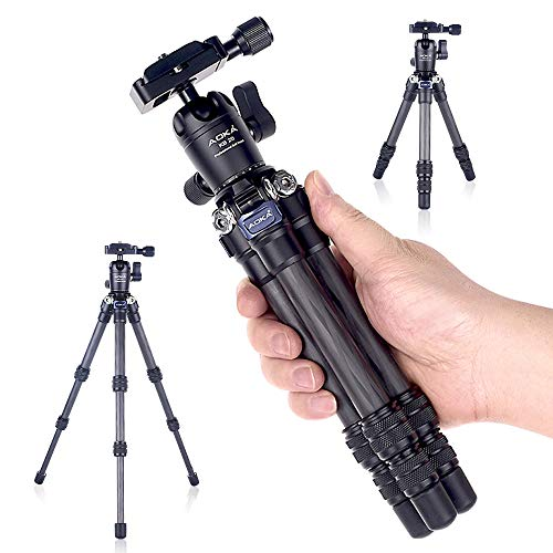 AOKA 15.7in/0.97lb Lightweight Compact Carbon Fiber Tripod with 360° Ballhead Travel Mini Tripod for Mobile Phone and Compact Mirrorless Cameras