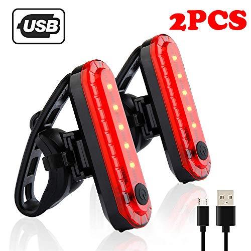 JUSHINI Fahrradlicht LED Fahrradleuchte 2PCS USB Wiederaufladbares Fahrrad Radfahren Lampe 4 Lichtmodi Vorderlicht und Rücklicht,2 USB-Ladekabel