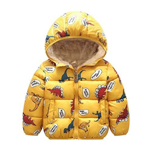 Fenical Child Winter Coat Kid Dinosaur Printed Short Padded Coat Light Puffer Jacket Boys Winter Coat for 110cm Kids (Yellow)