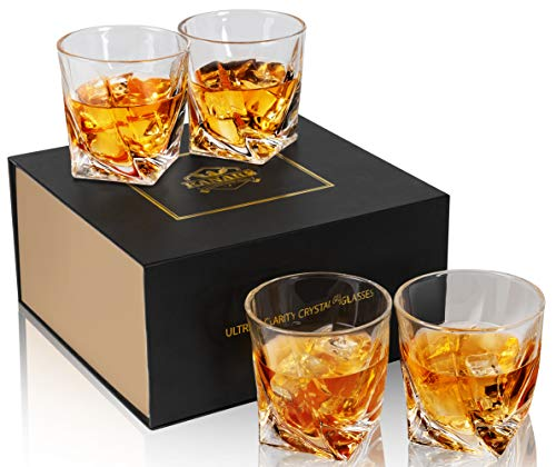 KANARS Crystal Whiskey Rocks Glasses with Luxury Gift Box, Old Fashioned Cocktail