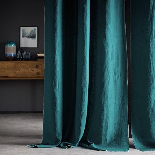 BLANC CERISE Rideau en 100% Lin lavé, uni, Vert Paon Bourdon contrasté grisclair, oeuillets en Metal 150 * 260