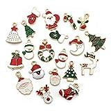 GAKIN - Juego de 20 pares de pendientes chapados en oro con esmalte de Navidad para hacer joyas y collar y pulsera