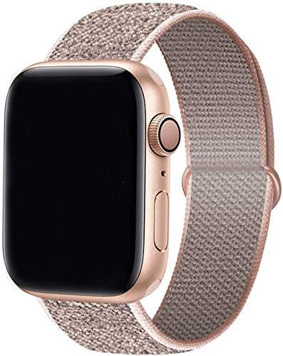 Tervoka Kompatibel mit Apple Watch Armband 44mm 42mm 40mm 38mm, Nylon Sport Armband Ersatzband für iWatch Armband Series 6/5/4/3/2/1 (38mm/40mm, Pinksand)