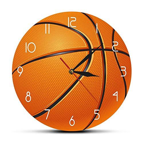 HHKLSF Basketball Ball 3D gedruckte Wanduhr Boy Room Nursery Wanduhr Stille Bewegung Uhr Basketball Boys Geschenk