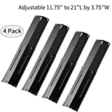 Outspark Universal Replacement Heavy Duty Adjustable Porcelain Steel Heat Plate Shield,Heat Tent,Flavorizer Bar,Burner Cover,Flame Tamer for Gas Grill, Extends from 11.75' up to 21' L (4-Pack)