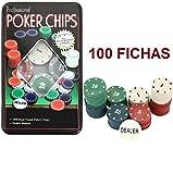 TEXAS HOLD*EM Juego de Poker 100 fichas numeradas con Caja + Ficha Dealer