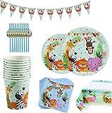 INTVN 62pcs 10 Invitados Vajilla de Papel Diseño Animal Jungla Mono, león, Cebra, Jirafa Vajilla de Hawaianos Platos Vasos para Tema Forestal Baby Shower Fiesta de cumpleaños Infantil