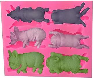 Moldes De Silicona Para La Decoración De Pasteles,3D Perros Durmiendo Animales Forma Pastel Suaves