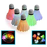 LED Shuttlecock Badminton Birdies, (6 Pack) 6 Color Set Goose Feather Ball Glow in The Dark Light Up for Sport Activities Toy Yard Outdoor Indoor Backyard Game Portable