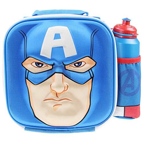 Disney Marvel Avengers Sac à déjeuner isotherme 3D Captain America pour enfants à l'école avec gourde de sport – Sac à goûter isotherme pour enfants avec bouteille – Sac fourre-tout réutilisable