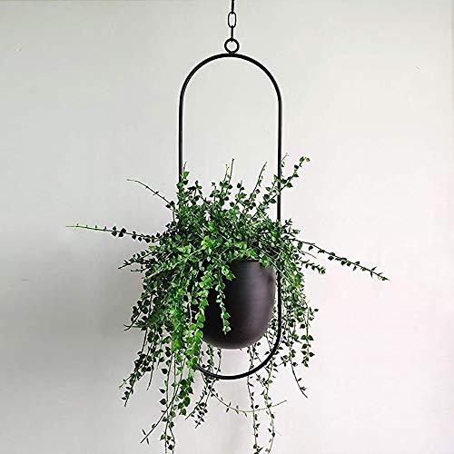 UMYMAYDO1 Hängende Blumenampel Metall Dekorationstopf Decke hängender Übertopf Pflanzkorb Chlorophytum für Zimmerpflanzen Außen Innen Terrasse Veranda Balkon (Schwarz-B)