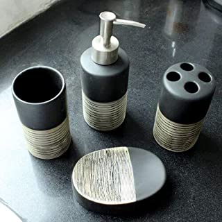 ANH19 Bathroom Tumblers - Hot 4Pcs Bathroom Accessory Set Toilet Requisites Soap Dish, Liquid Dispenser, Toothbrush Holder, Tumbler Bathroom Gift