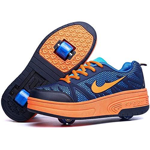 GWYX Zapatos con Ruedas para Niños Y Niñas con 1 Rodillo / 2 Rodillos Zapatos para Niños con Ruedas Zapatillas para Correr Zapatillas con Ruedas Unisex Niños, Orange-Double wheel-34