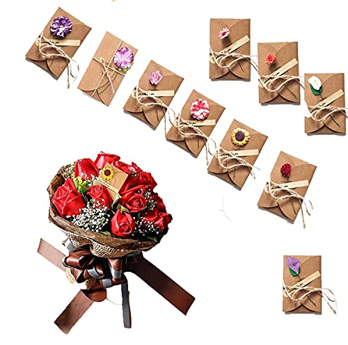 10 Pcs Biglietto di Auguri con Buste Decorato Cartolina di Carta Kraft di Lettera Cartoncini...