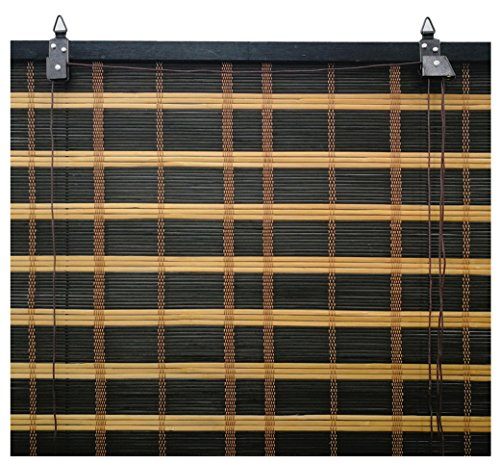 Solagua 6 Modelos 14 Medidas de estores de bambú Cortina de Madera persiana Enrollable (60 x 135 cm, Bicolor)