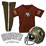 Franklin Sports San Francisco 49ers Kids Football Uniform Set - NFL Youth Football Costume for Boys & Girls - Set Includes Helmet, Jersey & Pants - Medium