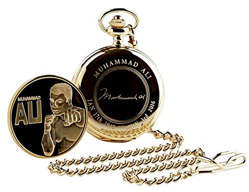 Signiert von Muhammad Ali Boxhandschuh Design Gold Taschenuhr 24Karat vergoldet in Holz Geschenk Tasche für Boxen Fans