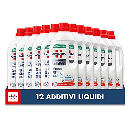 AMUCHINA Additivo Igienizzante Lavatrice Liquido con Ammorbidente, 12 Flaconi da 1 LT