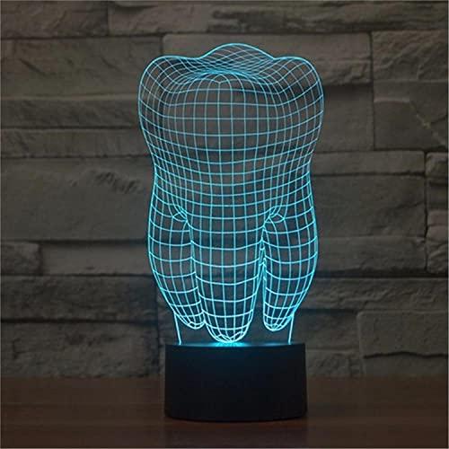 SLJZD luz de noche Diseño De Dientes Grandes, Luz Nocturna Visual En 3D, Multicolor Para Decoración De Bodas, Lámpara De Atmósfera Led De 7 Colores, Regalo Novedoso Para Amigos Con Control Remoto