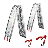 gardhom Rampe de Chargement, (Lot de 2 Rampe) pour Motos, Quads, Voitures, Remorques - Rampe 228x30.5cm Pliable Aluminium Rampe