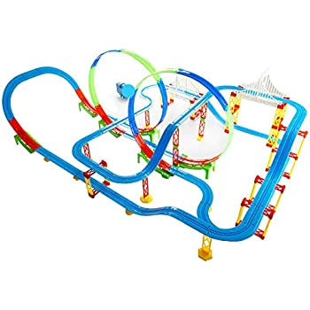 Kiditos DIY Self-Assemble Full Track Layout (162 Pcs) Battery Operated Train Track Set Toy