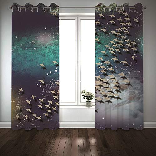 Kihomedy Panel de cortinas para dormitorio, patrón de pájaros, multicolor, tratamiento de ventana para dormitorio, sala de estar, 20 x 20 cm, 2 paneles