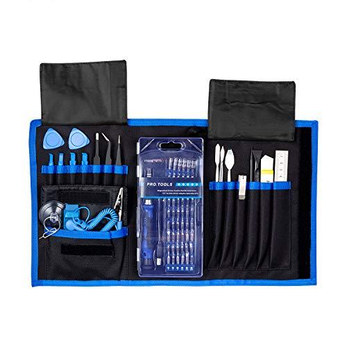 LAIKIY 80 en 1 Juego de herramientas de reparación de electrónica profesional con bolsa Oxford portátil para reparación de iPhone, teléfono celular, reloj, iPad, PC, tableta, MacBook