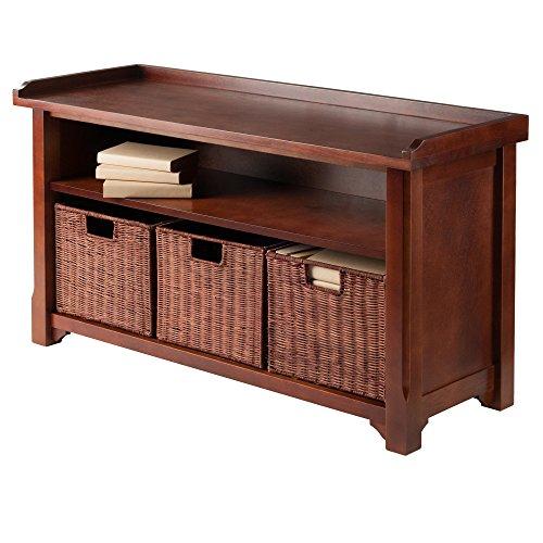 Product Image 5: Winsome Wood MilanWood Storage Bench in Antique Walnut Finish with Storage Shelf and 3 Rattan Baskets in Antique Walnut Finish
