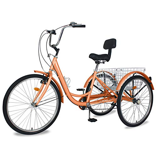 """Slsy AdultTricycles 7 Speed, Adult Trikes 20/24 / 26 inch 3 Wheel Bikes, Three-Wheeled Bicycles Cruise Trike with Shopping Basket for Seniors, Women, Men. (Soft Pink, 26"""" Wheels/ 7-Speed)"""