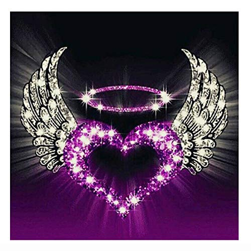 DIY 5D Full Drill Shining Angel Wing with Love Square Diamond Painting by Number Kits for Adults & Kids Crystal Rhinestone Cross Stitch for Wall Decor Gift 30x30cm/11.8x11.8in