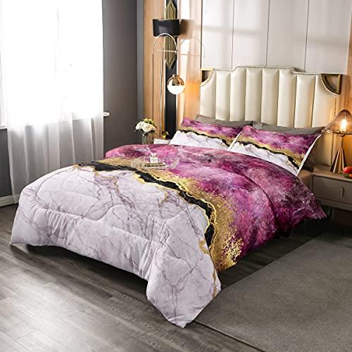 Juego de ropa de cama de mármol rosa, juego de edredón de mármol femenino elegante, juego de cama de grano de piedra bronceadora dorado para niños y niñas, decoración de dormitorio, 2 piezas