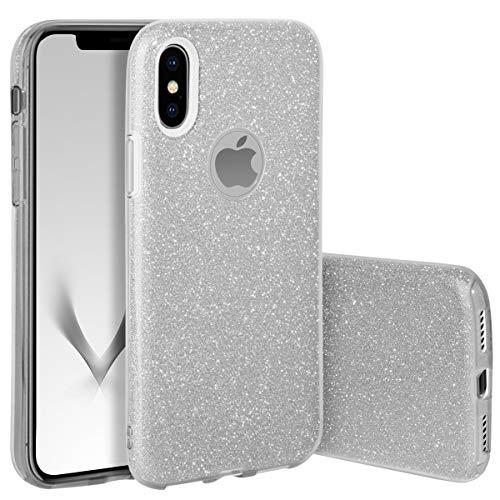 QULT Custodia Compatibile con iPhone XS Сover iPhone X Silicone Argento Glitter Gel Brillantini Anti-Scratch PRossoettiva Bumper Case per iPhone X/XS Silver