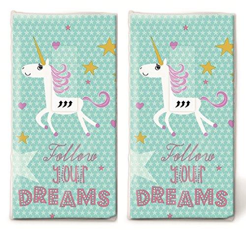 20 zakdoeken (2 x 10) eenhoorn in de sterrenhemel/kinderen/verjaardag