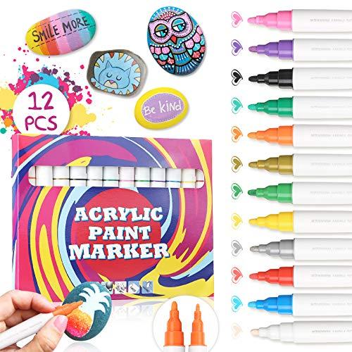 JOSEKO Acrylstifte Marker Stifte, 12 Farben Wasserfest Graffiti Stifte für Steine Bemalen, Acrylfarben Stifte für Kinder DIY Keramik Glas Porzellan Metall Kunststoff Holz Leinwand (1-4mm Spitze)
