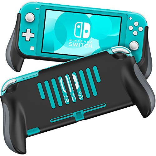 MEQI Grip Case Compatible with Nintendo Switch Lite, Comfortable and Ergonomic Gaming Portable Protective Handheld Cover - Accessories for Switch Lite Console 2019 Release (Black-05)