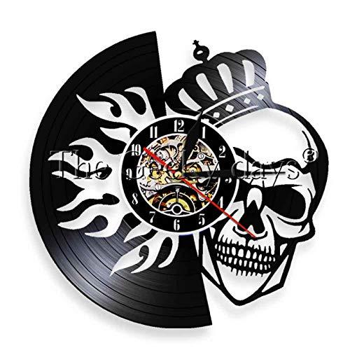 wttian 1 Skull Crowned Fire Skull Wall Clock Retro Vinyl Record Clock Home Decoration Quartz Handmade Clock
