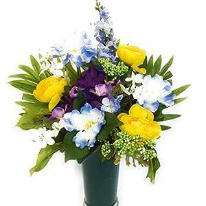 Cemetery Memorial Gravesite Flowers Yellow Blue Purple