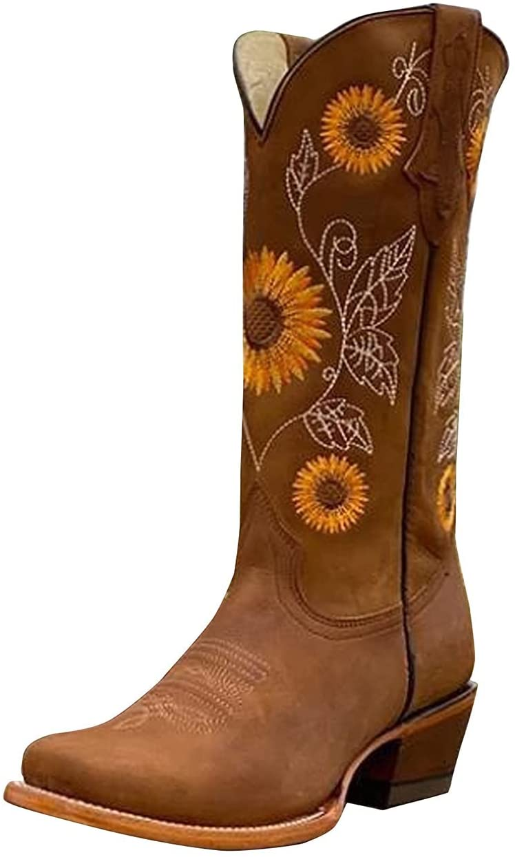 Boots for Women Western Boots Sunflowers Cowboy Boots for Women Mid Calf Chunky Heel Retro Square Toe Pull On Boots