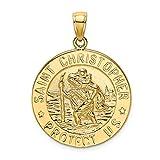 Ciondolo a moneta da donna in oro giallo 14 kt lucido con San Cristoforo.