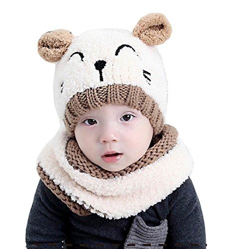 Tuopuda® Chapeau Bonnet Enfant Hiver Bébé Fille garçon Ensemble Bonnet Echarpe Chaudes Bonnet...