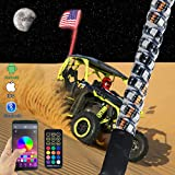 omotor 4FT(1.2M) Bluetooth and Remote Control 360° Spiral LED Whip Light w/Flag [21 Modes] [20 Colors] [Weatherproof] Lighted Antenna Whips - Accessories for ATV Polaris RZR 4 Wheeler