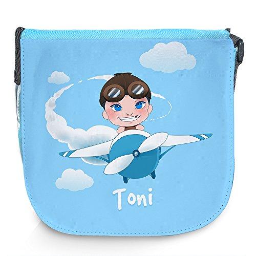 Umhängetasche für Kinder mit Namen Toni und schönem Motiv mit Pilot und Flugzeug | Schultertasche für Jungen