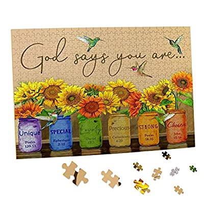Sunflower Puzzle 500 Piece Puzzles for Adults - Retro Sunflowers and Farmhouse Yellow Flower Hummingbird Animal Inspirational Wooden Jigsaw Puzzles for Family Activities Games - God Says You are from BLIOWL